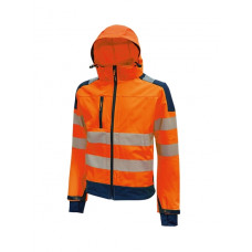 Giacca Miky in tessuto Softshell, stretch, traspirante, antivento e idrorepellente orange fluo